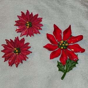 Poinsettia Brooch and Earrings Set